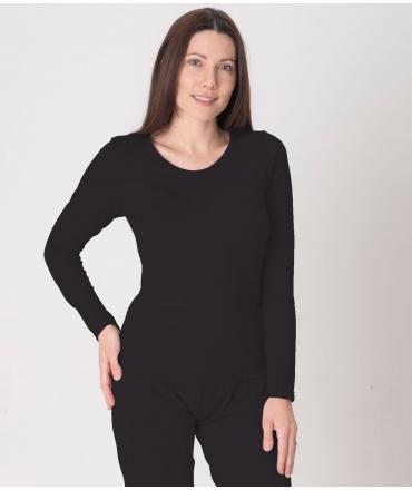 EMF Protective Womens Long Sleeved Vest (Black)